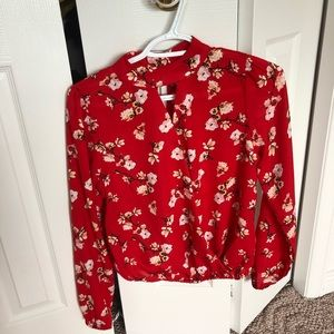 Red floral blouse. Size S. Perfect condition.